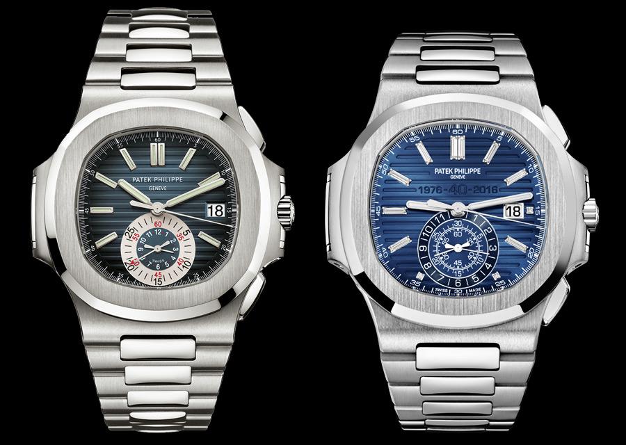 Patek Philippe Nautilus - Le chronogaphe de 2006 à côté du chronographe anniversaire de 2016