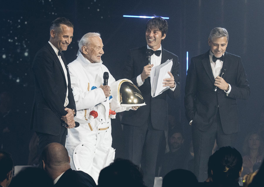 Raynald Aeschlimann, Buzz Aldrin, Brian Cox and George Clooney