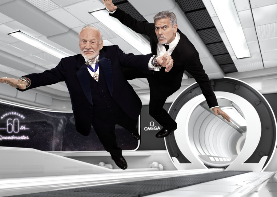 Buzz Aldrin and George Clooney, guests of honor