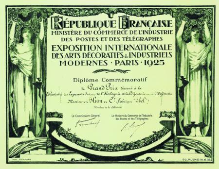 1925 - Grand Prix de l'exposition des Arts Décoratifs de Paris