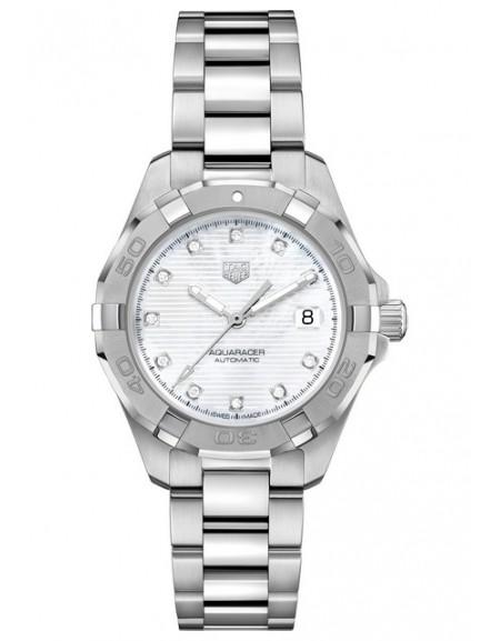 Aquaracer Lady Automatique Cadran blanc et indexes diamants