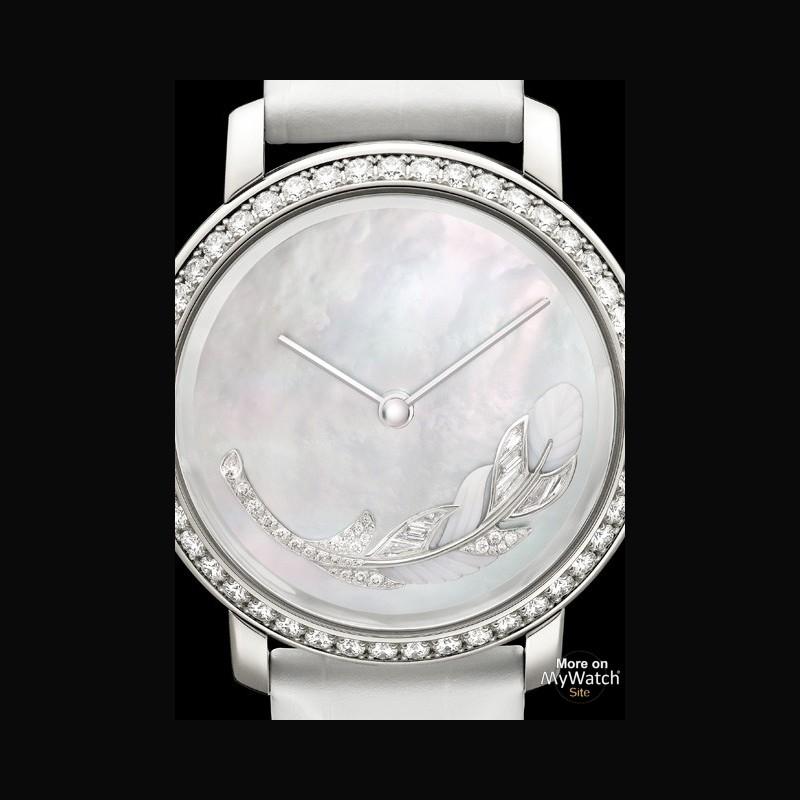 boucheron plume de lumi re epure d 39 art or blanc diamants bracelet alligator. Black Bedroom Furniture Sets. Home Design Ideas